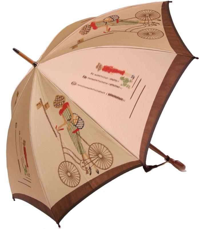 【NEW】巴里の自転車 ベージュ・コンセール 【モンブランヤマグチ ほぐし織り 】最高級婦人長傘軽量カーボン骨バージョン(約360g)※現在のバージョンは地色がもう少し濃くゴールドベージュ系になっております
