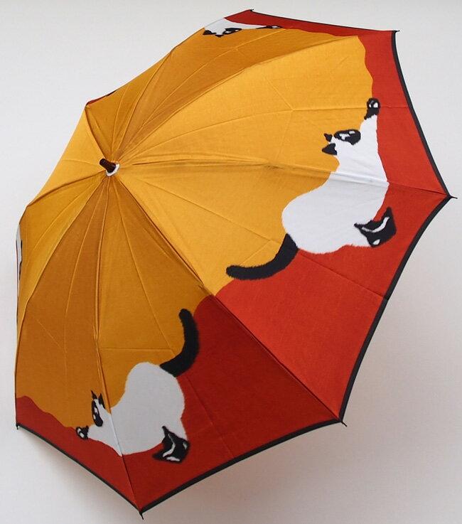 ≪×在庫なし≫【【猫(イエローオレンジ)】モンブランヤマグチほぐし織り(二段折畳傘)