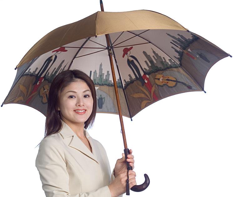 【両面ほぐし織】モンブラン婦人雨傘・長傘 『愛の翼』ゴールドベージュ〜秘めたるストーリーが輝く傘