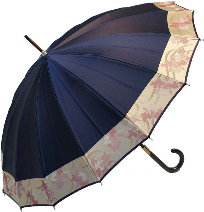 【店主おすすめ】ストーリィ16 (紺錦〜こんにしき)とも生地外袋つき 皇室御用達 前原光榮商店 婦人雨傘※現バージョンは楓ウェイブ型ハンドルになりタッセル(房)がつきますお名前彫りなしは即納できますお名前彫り有の場合は3/7(水)仕上がり予定