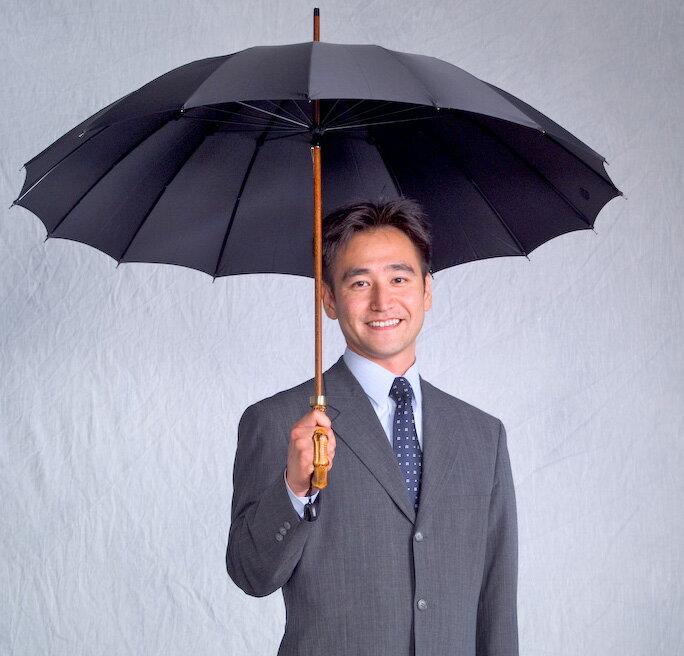 ■前原光栄Bamboo16 (ブラック)「皇室御用達」前原光榮商店 紳士雨傘いつまでも持ち続けたい傘。持つほどに愛着がわく紳士傘)お名前彫りなしは即納できます御名前入れありは12/28(木)仕上がり予定(年内最終)