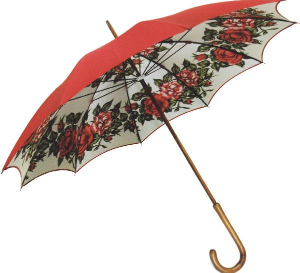 【受注作成品納期4-6週間】米田シルクガーデン*長傘 エンジ赤(現在は真っ赤ではなく、生地拡大写真のように落ち着いたエンジ赤のお色で仕上がります) (dxシリーズ)