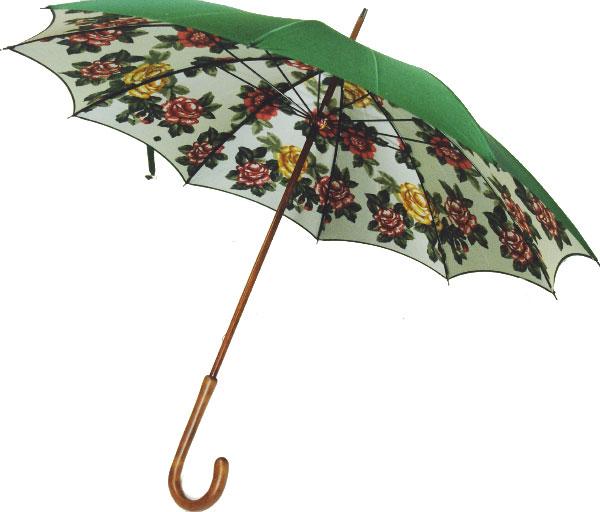 【受注作成品納期4-6週間】◆米田シルクガーデン  *長傘 グリーン (mdシリーズ)