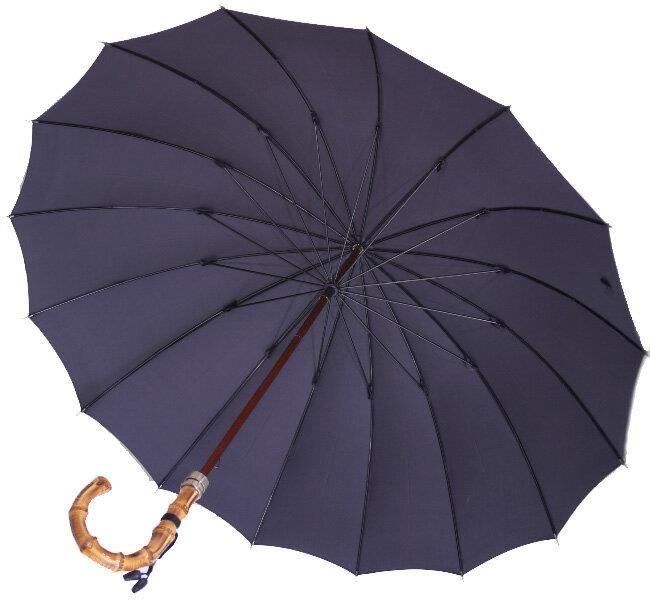 ■前原光栄Bamboo16 (濃紺ネイビー)「皇室御用達」前原光榮商店 紳士雨傘いつまでも持ち続けたい傘。持つほどに愛着がわく紳士傘お名前彫りなしは即納できます御名前入れありは12/28(木)仕上がり予定(年内最終)