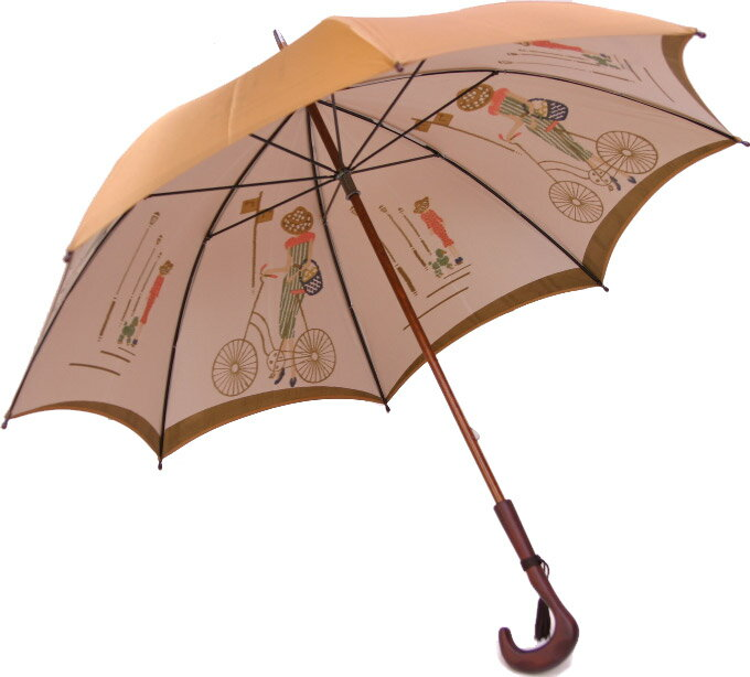 【両面ほぐし織】 巴里の自転車 (ゴールドベージュ)長傘タイプ モンブランヤマグチ 婦人雨傘