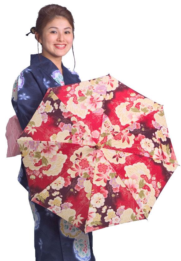 ◆美彩夢 (アーバンレッド・コンフォート) 特選ちりめんプリント ワカオ晴雨兼用傘