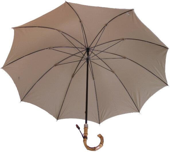 ◆WAKAO ボレロ◆ (カーキベージュ)ライト&ラージ 寒竹ハンドルの逸品軽い、大きい、持ちやすいこだわりが冴えわたる!かさ工房ワカオのベストセラー紳士傘