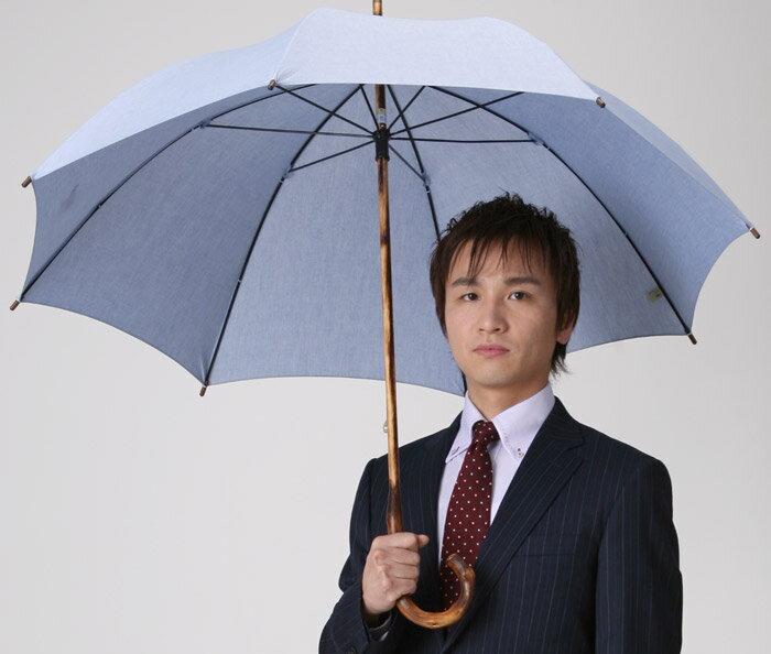 ◆男の日傘 男性用日傘(長傘)◆アンソニー◆涼感のブルー現在のバージョンは白木(葡萄)のハンドルになります