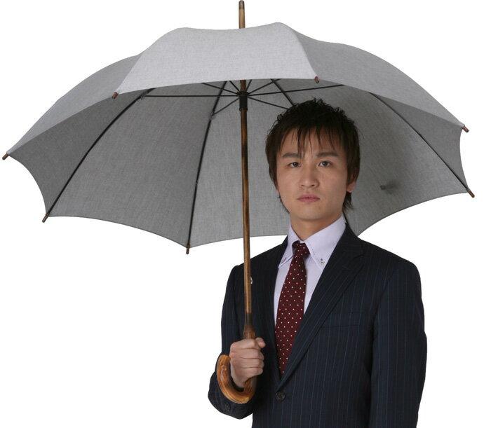 ◆男の日傘 男性用日傘(長傘)◆アンソニー◆質感のグレー現在のバージョンは白木(葡萄)のハンドルになります
