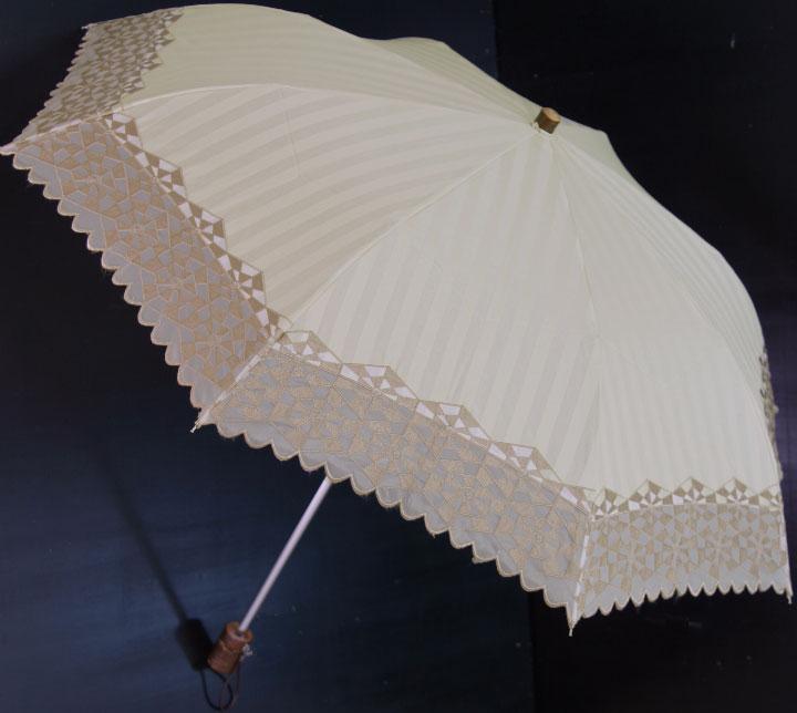 【日傘 UVカット】 2段折畳 晴雨兼用パラソル トローヴァ(クレイ・ベージュ)ネームクラフト(お名前入れ)はできません
