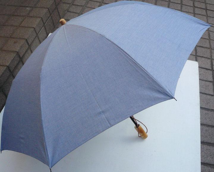 WAKAOワカオ◆二段折傘◆男の日傘 男性用日傘◆アンソニー◆涼感のブルー