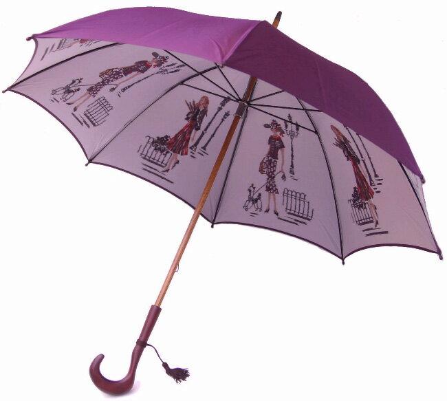 【両面ほぐし織】 モンブランヤマグチ 婦人雨傘 巴里の散歩道パープル特別仕様カーボン骨+樫(かし)中棒軽量約380g