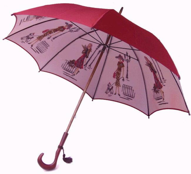 【両面ほぐし織】 モンブランヤマグチ 婦人雨傘 巴里の散歩道ダークレッド特別仕様カーボン骨+樫(かし)中棒軽量約380g