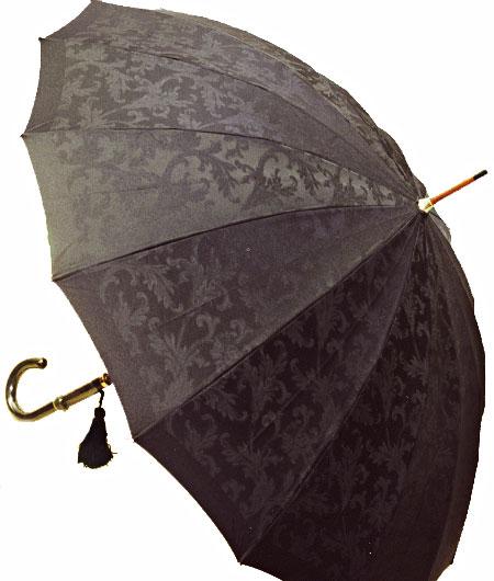 【受注作成】10月上旬仕上予定ロイヤル16(ブラック) 「皇室御用達」前原光榮商店・婦人雨傘】とも生地外袋つき ※現バージョンは楓ウェイブ型ハンドルになりタッセル(房)がつきますみや竹オリジナル仕様