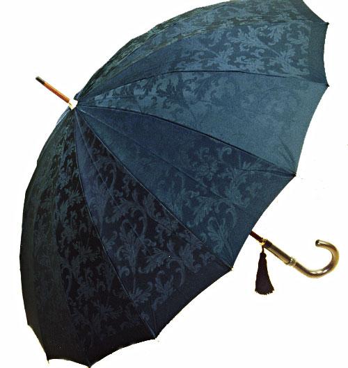 【受注作成】2018年1月下旬仕上予定Royal 16 (ネイビー) 「皇室御用達」前原光榮商店・婦人雨傘とも生地外袋つき ※現バージョンは楓ウェイブ型ハンドルになりタッセル(房)がつきますみや竹オリジナル仕様