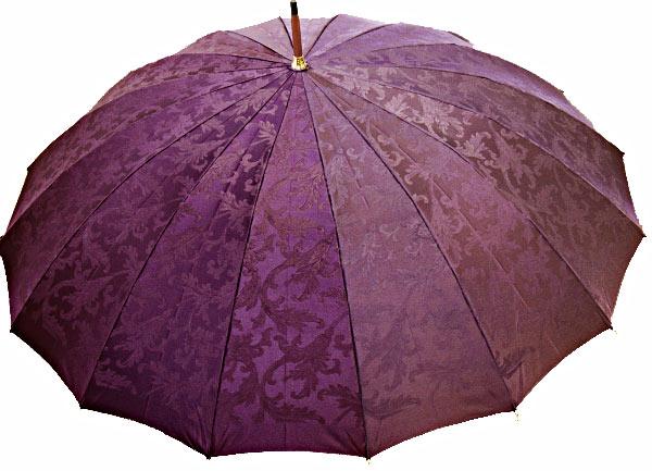 【受注作成】7月中旬仕上予定傘寿/喜寿おすすめRoyal 16 (パープル) 「皇室御用達」前原光榮商店・婦人雨傘とも生地外袋つき ※現バージョンは楓ウェイブ型ハンドルになりタッセル(房)がつきます