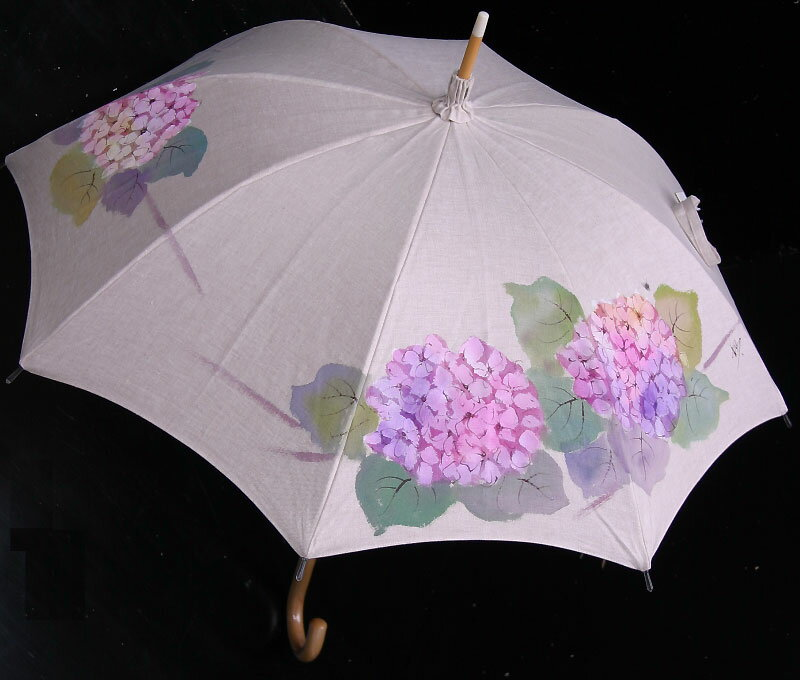 ★おすすめ★京都西陣手描き日傘(紫陽花・ピンク)新シリーズの麻バージョンです気品溢れる手描き傘、母の日や御祝にも最適です