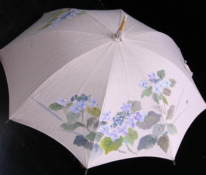 ★おすすめ★京都西陣手描き日傘(がく紫陽花・ブルー)新シリーズの麻バージョンです気品溢れる手描き傘、母の日や御祝にも最適です