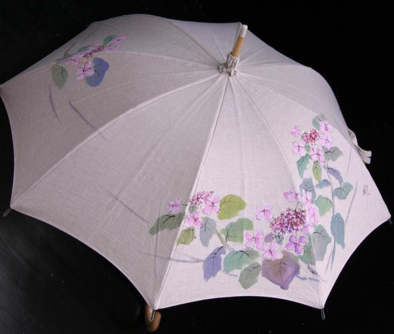 ★おすすめ★京都西陣手描き日傘(がく紫陽花ピンク)新シリーズの麻バージョンです気品溢れる手描き傘、母の日や御祝にも最適です