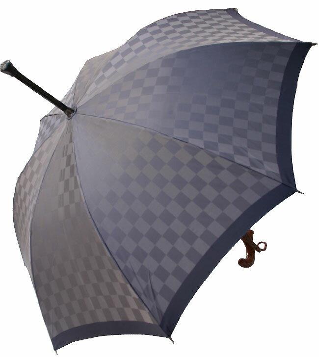 ★素敵なステッキ傘★杖傘ちぇっくメンズ(グレー)全長約88.5cm/サイズカット加工無料/名入れOK/修理OK<楽天シニア市場>掲載お薦め商品※染料の関係で現在のものは写真より濃い色合いになっております