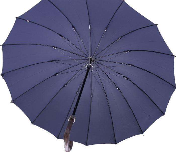 ◆Komiya7016◆LL70cm16本骨紳士傘(色:アイリッシュネイビー)ファインデニール繊維ミラトーレ仕様とも生地外袋つき ※現在の色は写真よりも濃く黒に近い濃紺です。お名前入れなしは即納OKお名前入れ有の場合は8/25(土)仕上がり予定