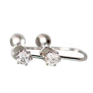 0.3ct ダイヤモンド イヤリング 6爪 プラチナ900 6本爪 1粒