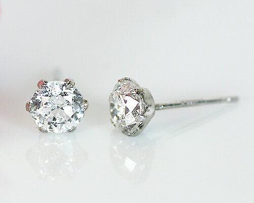 【鑑別書付】【プラチナ】Pt900 0.7ct ダイヤモンドピアス/イヤリング
