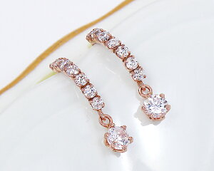 K18 WG PG 0.4ct ダイヤモンド チャーム ピアス