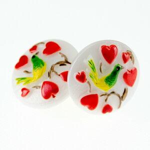【メール便対応可】チェコ 伝統工芸品 ガラスボタン イヤリング オアゾ ホワイト