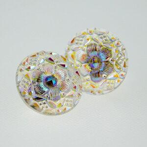 【メール便対応可】チェコ 伝統工芸品 ガラスボタン イヤリング フラワー パール