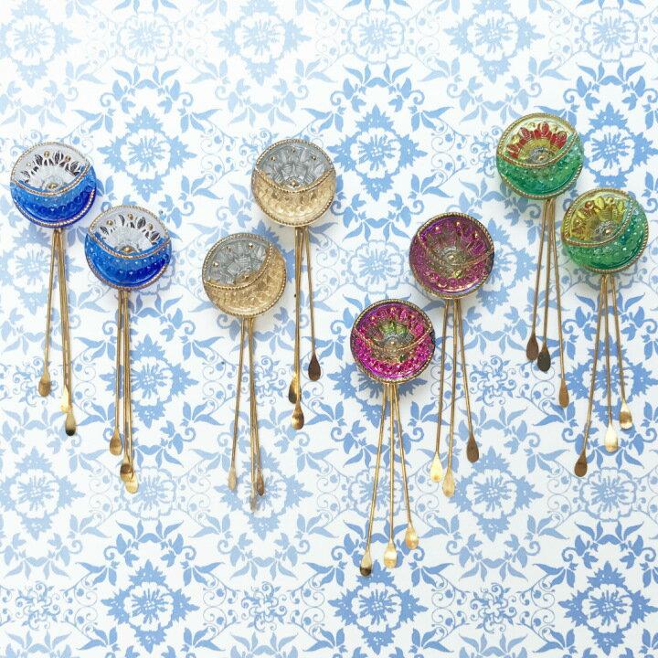 【メール便対応可】チェコ 伝統工芸品 ガラスボタン タッセルピアス ソレイユ