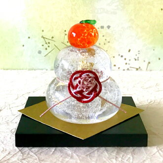 A glassworker handicraft with round mirror-shaped rice-cake (money of bubble) small box <glass studio CRAFTHOUSE>. Round mirror-shaped rice-cake of the glass of the small size