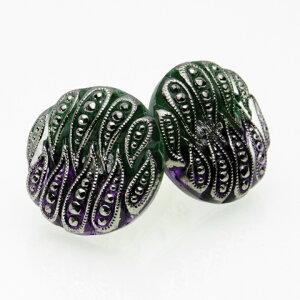 【メール便対応可】チェコ 伝統工芸品 ガラスボタン イヤリング ペイズリー グリーンパープル