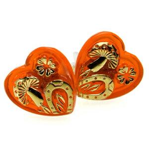 【メール便対応可】チェコ 伝統工芸品 ガラスボタン イヤリング シャンピニオン レッド