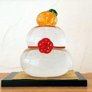 工房 CRAFTHOUSE ガラス製 鏡餅 クリア(中) 敷板・梅結び水引・和紙付き 箱入り