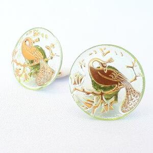 【メール便対応可】チェコ 伝統工芸品 ガラスボタン イヤリング ピーコック ゴールド