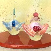 【送料無料】春がきたような華やかさ!羽のような衣裳が可愛いガラスの雛人形(お雛様)祝願<ガラス作家小川隼人>