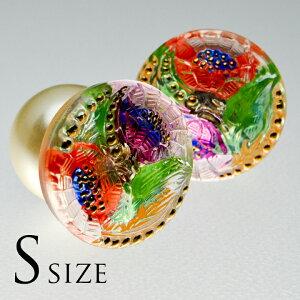 【メール便対応可】チェコ 伝統工芸品 ガラスボタン ピアス S ポーチュラカ レッドパープル パールキャッチ