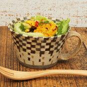 寄木細工のような格子柄カップ練り込みスープカップ(格子)<陶芸家森野奈津子>