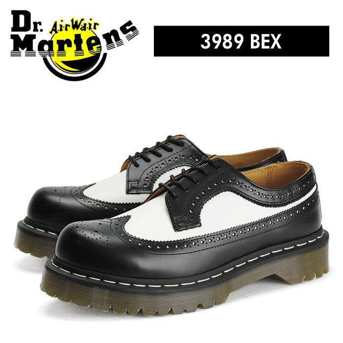送料無料 ドクターマーチン Dr.Martens 5アイ ウィングチップ ブーツ ベックスソール 黒 白 ブラック/ホワイト バイカラー メンズ レディース レザー 厚底 ローカット 5 EYE BROGUE 3989Z BEX SOLE BLACK/WHITE 10458001 靴