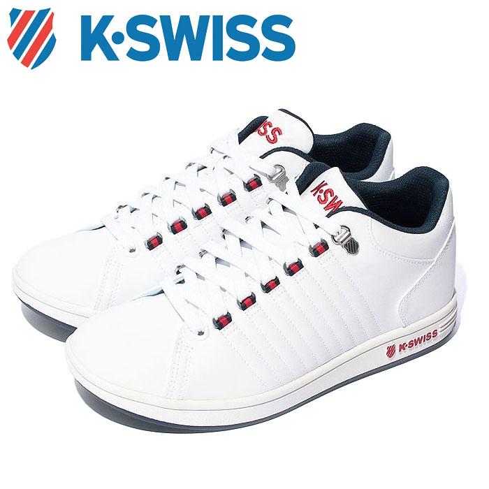 送料無料 Kスイス ケースイス メンズ レディース ホワイト トリコロール 白 赤 青 スニーカー レザー テニスシューズ K-SWISS KSL 01 WHITE 36800015