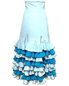 ツートン8段フリル・ハイウエストファルダ ( ブルー系 ) (SIZE:38)フラメンコスカート Julia社製 送料無料