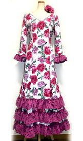 オーダー 3段ギャザーフリルワンピ (白にブーゲンビリア) 送料無料 発表会 群舞 ワンピース フラメンコ衣装