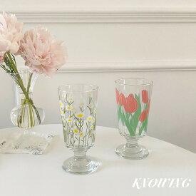 【即納】チューリップ コップ 2点セット コスモス ガラス 雑貨 食器 グラス 花柄 おしゃれ 北欧 安い セット イラスト 可愛い お揃い かわいい マグカップ ティーカップ カフェ 韓国 雑貨