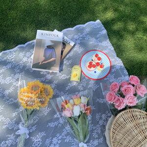レース 花柄 テーブルクロス 布 ピクニック シート 白 ホワイト フリル フレア 大きい かわいい おしゃれ カフェ インテリア 雑貨 韓国 マット 刺繍 四角 北欧