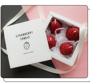 イチゴ キャンドル レッド 北欧 カフェ シンプル 雑貨 インテリア おしゃれ かわいい 可愛い 韓国 丸 キューブ 球体 箱付き リボン いちご 苺 小さい プレゼント