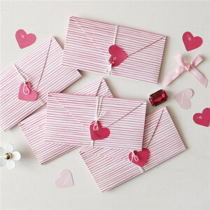 【開くとハートの形になります】 2点セット ハート型 便箋 封筒 手紙 レター ボーダー ハート ピンク かわいい おしゃれ 韓国 雑貨 セット 封筒 サプライズ