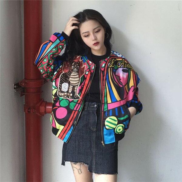 絶対人とかぶらない!アーティスティックなド派手ジップアップブルゾン 原宿系 ファッション レディース カットソー かわいい 服 奇抜 派手 カワ な 服 個性的 ダンス 衣装 ヒップホップ 韓国