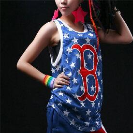 韓国 ストリート系 B系 K-POP ファッション HIPHOP ゆったり 刺繍 ロゴ 星 プリント キャミソール レディース ダンス 衣装 ヒップホップ