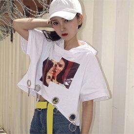 2019 原宿系 ファッション レディース 女のコのフォトプリントとリングデザインがトレンド感のあるワイドシルエット半袖 Tシャツ 奇抜 派手 個性的 ダンス 衣装 コスチューム ヒップホップ 韓国